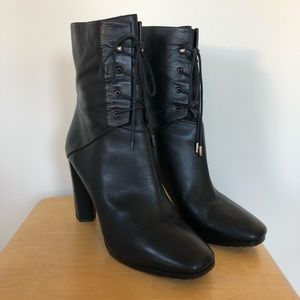 Diane Von Furstenberg Leather Lace Up Ankle Boots